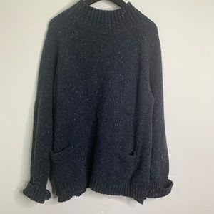 J. Jill Blue Wool Blend Turtleneck Sweater
